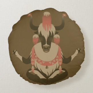 Y is for Tibet Yak Round Pillow