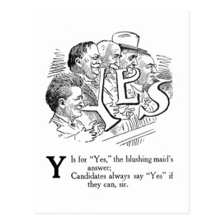 Y is for Yes! Cartoon Postcard