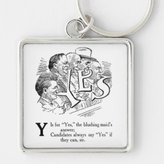Y is for Yes! Cartoon Silver-Colored Square Keychain