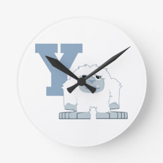 Y is for Yeti Round Clock