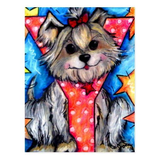 Y is for Yorkie Post Card