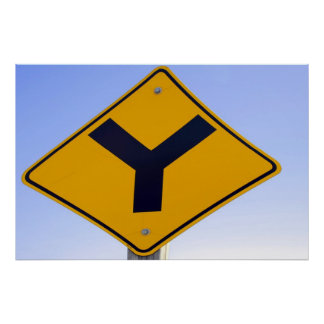 Y Junction Signpost Poster Print