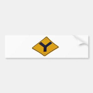 Y Junction Yellow Signpost Bumper Sticker