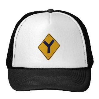Y Junction Yellow Signpost Mesh Hats