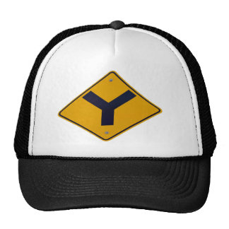 Y Junction Yellow Signpost Mesh Hat