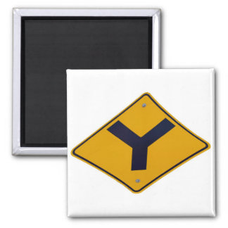 Y Junction Yellow Signpost Magnet