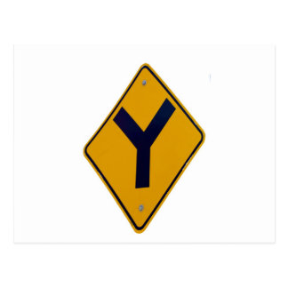 Y Junction Yellow Signpost Postcard
