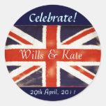 Y los pegatinas reales del boda de Kate Etiqueta Redonda