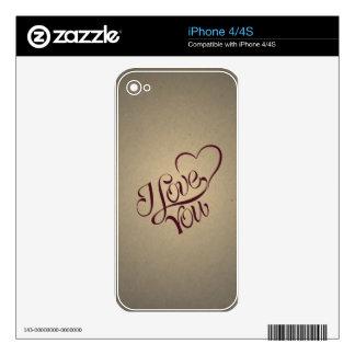 Y Love You Vintage Message Design iPhone 4 Decals