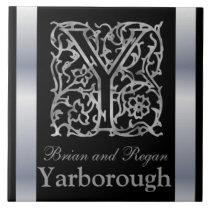 "Y Monogram and Name ""Besque on Black"" Ceramic Tile"