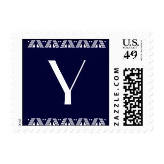 Y - Monogram - Navy Blue Background, Art Deco Trim Stamp