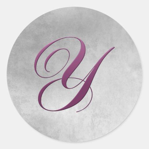 Y Monogram Sticker Purple and Grunge