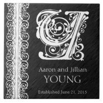 "Y Monogram ""White Lace on Black"" Wedding Tile"