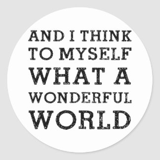 Y mundo maravilloso etiquetas redondas