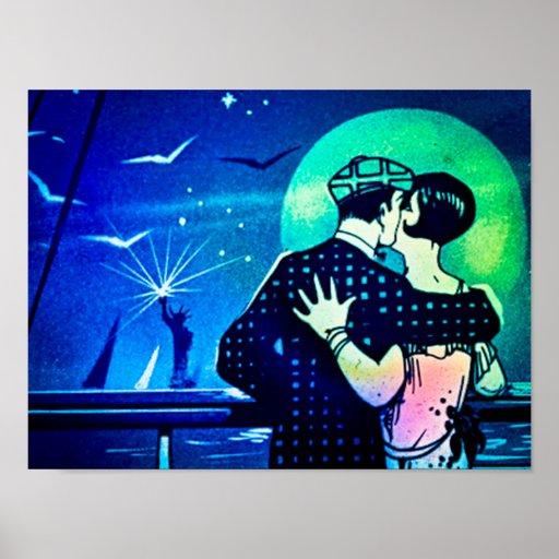 Y navegaron para el beso de los amantes del vintag poster
