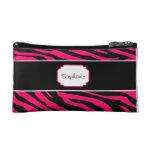 Y negra bolso cosmético personalizado cebra rosada
