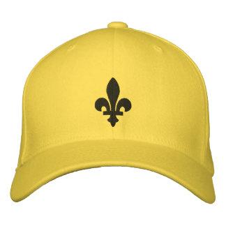 Y negra gorra bordado flor de lis amarilla gorra bordada