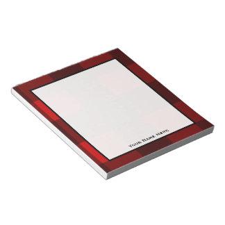 Y negra libreta personalizada tela escocesa roja bloc de papel