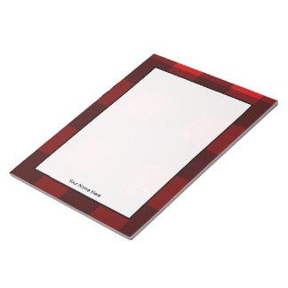 Y negra libreta personalizada tela escocesa roja blocs de notas