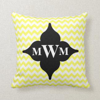 y negro monograma personalizado galón amarillo cojín decorativo