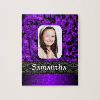 Y negro plantilla personalizada cordón púrpura de rompecabeza