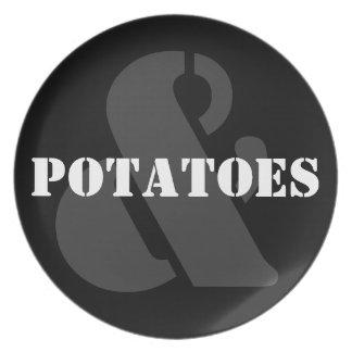 Y placa de las patatas (va con la placa de la carn plato de cena