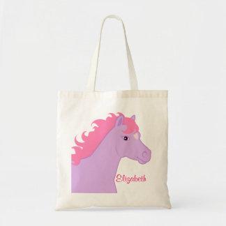 Y púrpura bolso personalizado potro rosado bolsas de mano