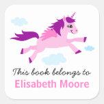 Y púrpura bookplate personalizado unicornio rosado pegatinas cuadradas