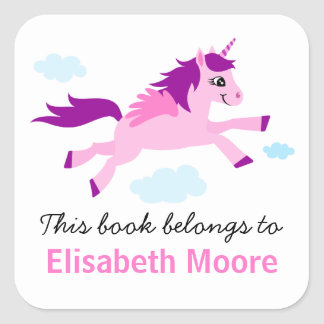 Y púrpura bookplate personalizado unicornio rosado pegatina cuadrada