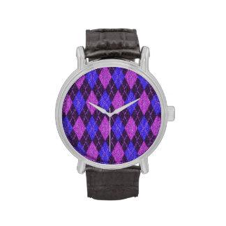 Y púrpura reloj hecho punto jersey azul de los