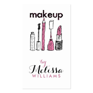 Y rosada maquillaje dibujado mano negra Artis Tarjetas De Visita