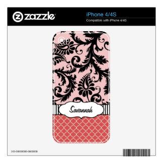 Y rosado piel personalizada damasco coralino del calcomanías para iPhone 4