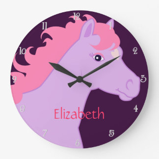 Y rosado reloj de pared personalizado potro púrpur