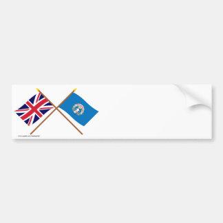 Y septentrionales banderas cruzadas Mariana BRITÁN Etiqueta De Parachoque