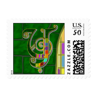 Y Stained Glass Monogram Postage Stamps