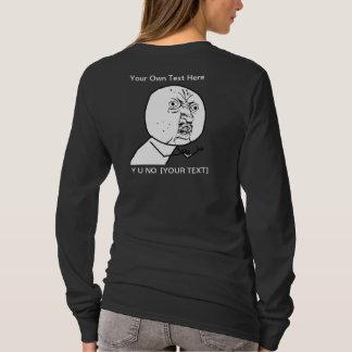Y U NO - Design Ladies Long Sleeve Black T-Shirt