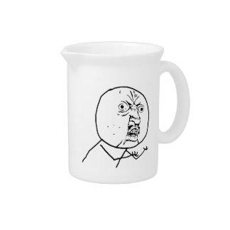 Y U No Guy Comic Face Drink Pitcher