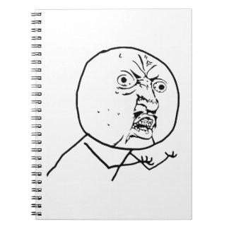 Y U No Guy Comic Face Spiral Note Book