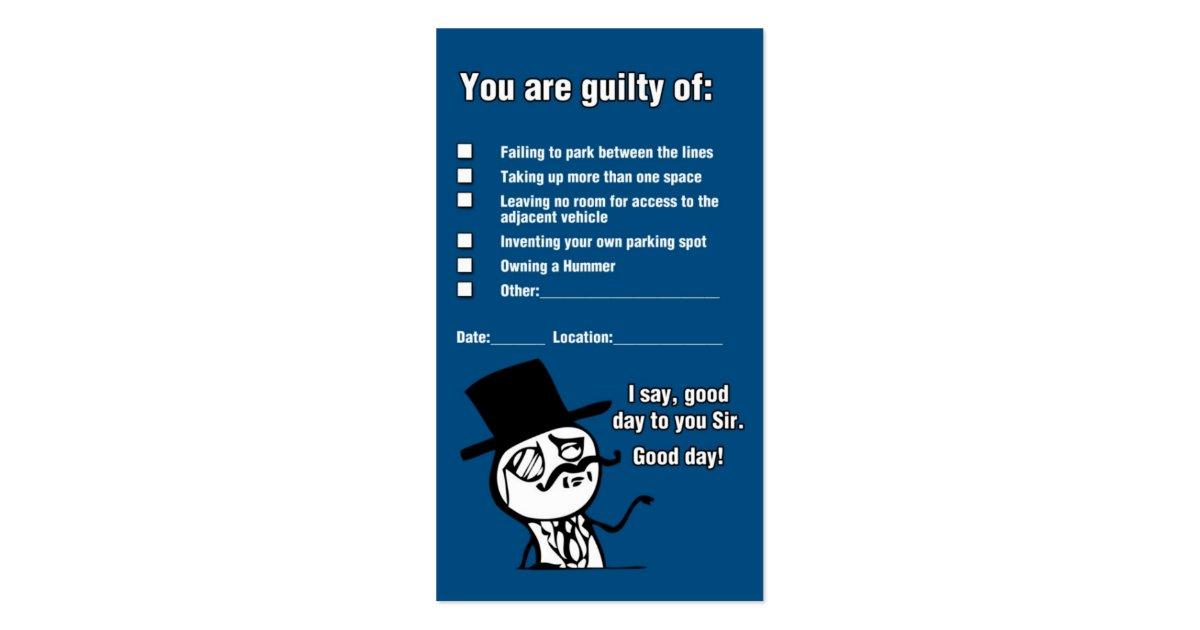Y U NO PARK GOOD BUSINESS CARD