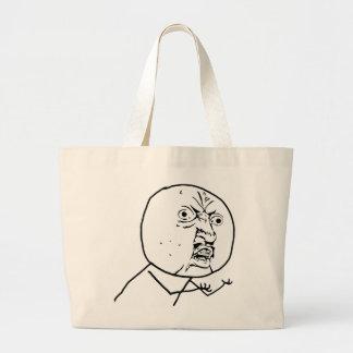 y u no rage face comic lol rofl large tote bag