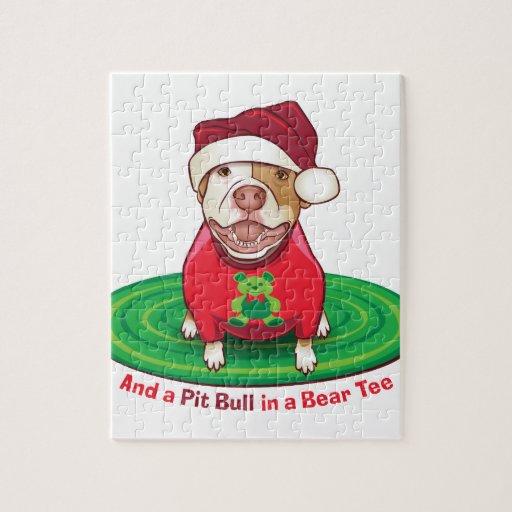 Y un pitbull en una camiseta del oso rompecabeza con fotos
