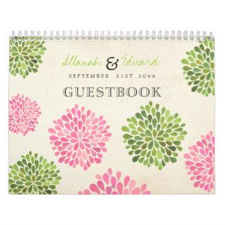 Y verde libro de visitas personalizado boda rosado calendarios de pared