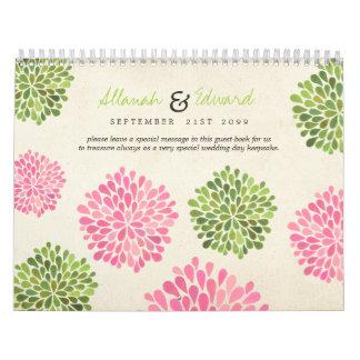 Y verde libro de visitas personalizado boda rosado calendario de pared