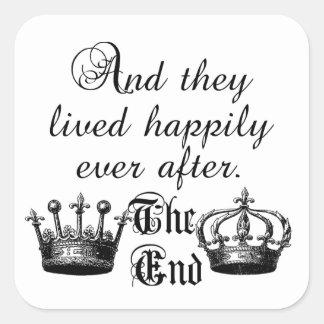 Y vivieron feliz nunca después de cita pegatina cuadrada