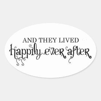 Y vivieron feliz nunca después de pegatinas ovales
