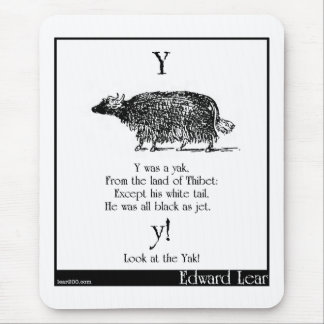 Y was a yak mouse pad