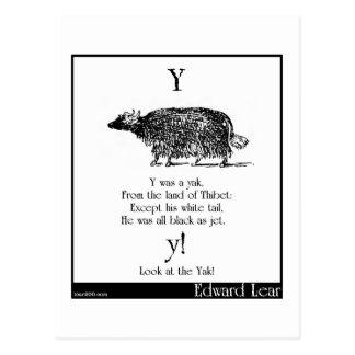 Y was a yak postcard