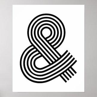 Y y atajo del icono del símbolo del Logogram del s Póster