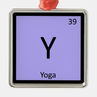 Y - Yoga Sports Chemistry Periodic Table Symbol Metal Ornament