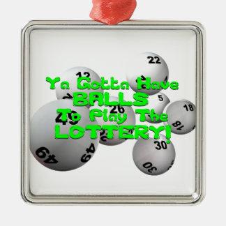 ¡Ya consiguió tener bolas para jugar la lotería! Adorno Navideño Cuadrado De Metal